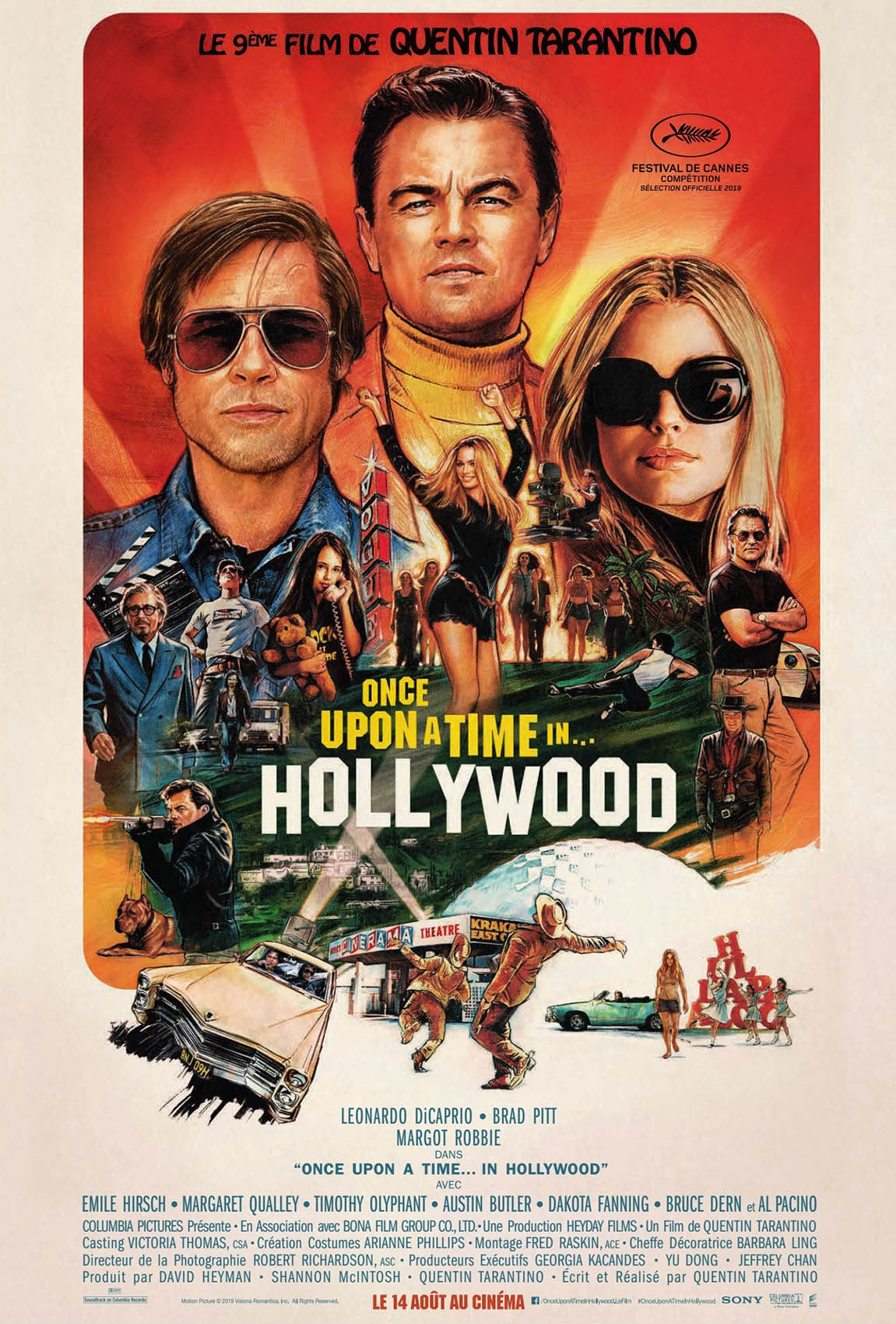 Affiche française du Tarantino, Once upon a Time in Hollywood