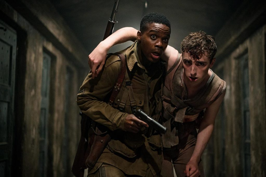 (L-R) Jovan Adepo as Boyce, Dominic Applewhite as Rosenfeld in the film, OVERLORD by Paramount Pictures